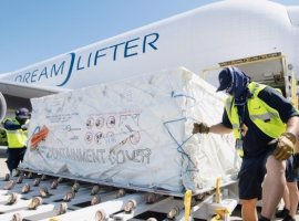 Boeing deployed three Dreamlifter aircraft to transport more than 150,000 protective eye goggles and face shields from China to the United States