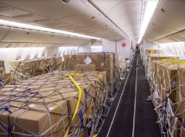 Air Canada's AC2284, the first commercial flight operated on Air Canada's newly remodelled Boeing 777-300ER aircraft, delivered 9 tonnes of masks in i