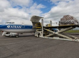 Arriving from Frankfurt to Cologne by truck, the equipment was loaded aboard a Boeing 737-400SF cargo plane for further shipment to Vnukovo International Airport, where ATRAN is based.