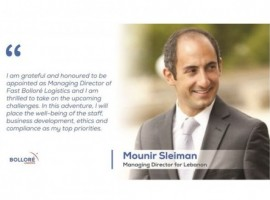 Bolloré Logistics has appointed Mounir Sleiman as the managing director for Lebanon.