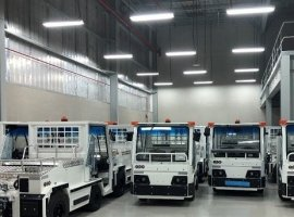 Bolloré Logistics Abu Dhabi moved 54 electric baggage tractors from Port Khalifa to Logistics Park in Abu Dhabi for TCR