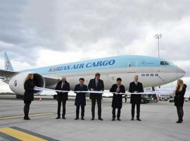 Budapest Airport welcomed the first direct Seoul-Budapest cargo flight on February 21 as Korean Air's Boeing 777F type cargo aircraft made its way to the apron of BUD's logistics base.