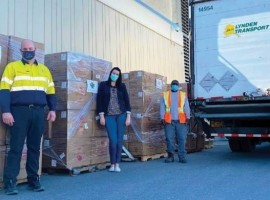 The shipment, which was the largest donation received from private industry, included 12,500 isolation gowns, 100,000 N95 masks and 400,000 surgical masks.