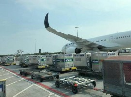 It was shipped from Amsterdam (The Netherlands) to Brazil (Brasilia airport) aboard three A350 aircraft flights
