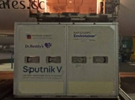 The vaccines were safely loaded into an Envirotainer RKNt2 container and then shipped by Emirates SkyCargo from Moscow to Dubai International Airport