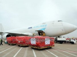 A cargo aircraft carrying 500,000 surgical masks made its way from China on March 13 and arrived in Belgium's Liege Airport, where it continued its journey to its final destination in Rome, Italy.