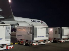 The 10 RAPs of the Hellmann Logistics company were transported with the Pharma Active care that LATAM Cargo offers allowing the setting of the very specific temperature that these sensitive products required.