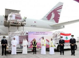 Qatar Airways has partnered with Qatar Charity, Monoprix Qatar and talabat to deliver essential supplies to Lebanon transported free of charge from Doha to Beirut by Qatar Airways Cargo.