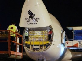 The Pfizer-BioNTech vaccine shipment was delivered to Singapore's Changi Airport on board its Boeing 747-400 freighter and is the first to be delivered to a country in Asia.