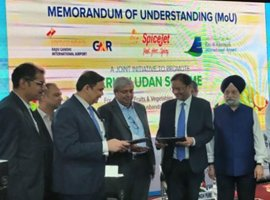 SpiceJet has inked a tripartite Memorandum of Understanding (MoU) with GMR Hyderabad International Airport (GHIAL) and Ras-Al-Khaimah International Airport, UAE at the Wings India 2020 in Hyderabad.