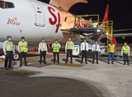 SpiceJet operated its maiden freighter flight carrying around 17 tonnes of critical medical essentials from Mumbai to Bahrain.