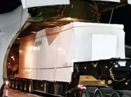 The cargo included a 57 tonne transformer with supporting equipment, as well as three units of the newest and world's first transported Siemens SGT-A45 mobile turbine.