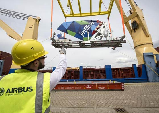 DHL transports first aircraft components for Airbus