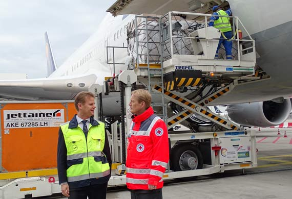 Red Cross and Lufthansa Cargo fly camp beds to Germany